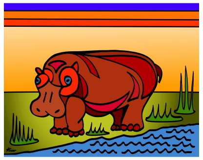 peter-hausser-abstract-animal-series-5-hippo